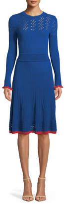 Pinko Long-Sleeve Knit Scoop-Neck Midi Dress