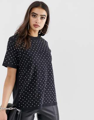 Asos Design DESIGN oversized t-shirt with crystal studs
