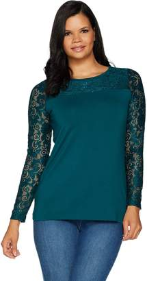 Belle By Kim Gravel Belle by Kim Gravel Long Sleeve Knit Top with Lace Trim