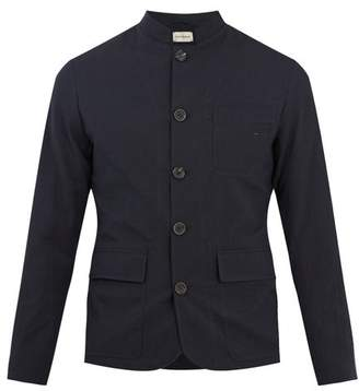 Oliver Spencer Stand Collar Seersucker Jacket - Mens - Navy