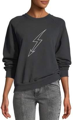 Givenchy Lightning-Bolt World Tour Crewneck Jersey Sweatshirt