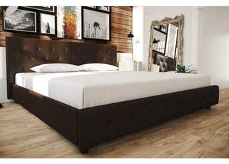 DHP Dakota Upholstered Faux Leather Platform Bed with Wooden Slat Support and Tufted Headboard and Footboard, Multiple Colors and Sizes