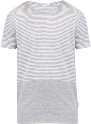 Onia Chad Grey Striped Linen Blend T Shirt