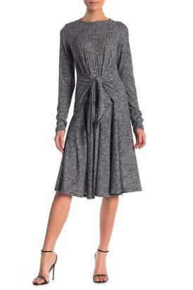 Couture Go Modest Long Sleeve Front Tie Knee Length Dress