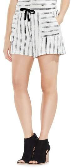 Drawstring Stripe Cotton Blend Shorts