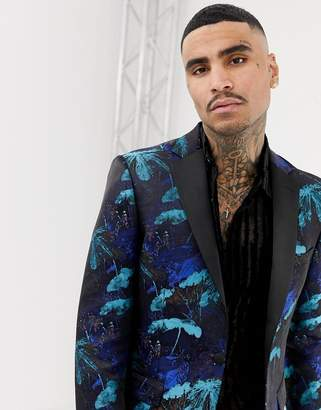 Moss Bros suit jacket in turquoise floral jacquard