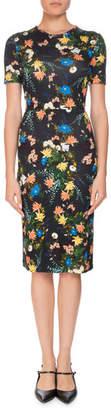 Erdem Essie Mariko Meadow Short-Sleeve Floral-Print Fitted Dress