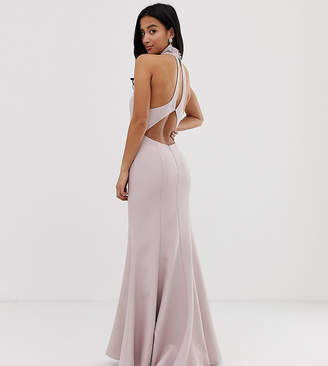 f34d8bff4ae7 Jarlo Petite high neck trophy maxi dress with open back detail in pink