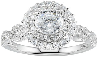 Swarovski Diamonluxe DiamonLuxe Sterling Silver 2 3/4 Carat T.W. Simulated Diamond Tiered Halo Ring