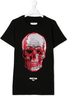 Philipp Plein Junior TEEN embellished skull print T-shirt