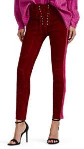 Taverniti So Ben Unravel Project Women's Velour-Striped Suede Lace-Up Skinny Pants - Wine