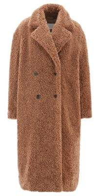 BOSS Hugo Faux-fur teddy coat double-breasted front 4 Brown
