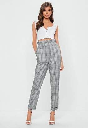 Missguided Gray Prince Of Wales Paper Bag Waist Pants