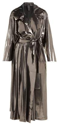 Norma Kamali Tie Waist Metallic Trench Coat - Womens - Silver