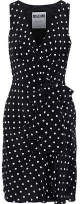 Moschino Wrap-Effect Polka-Dot Silk Crepe De Chine Mini Dress