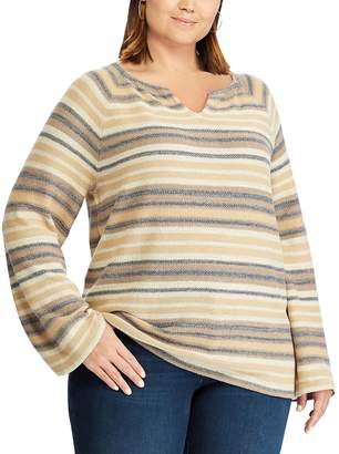Chaps Plus Size Long Sleeve Striped Sweater