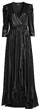 RetrofÃate Women's Flora Lamé High-Low Wrap Dress