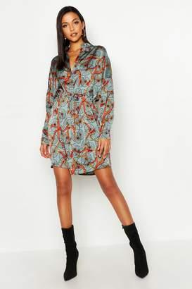 boohoo Tall Chain Print Shirt Dress
