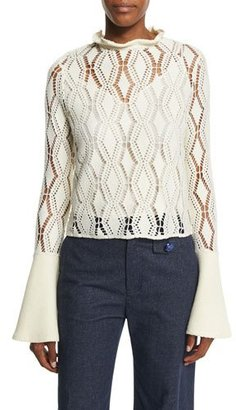 See by Chloe Bell-Sleeve Crochet Top, Winter White $260 thestylecure.com
