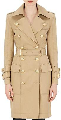Balmain Women's Cotton Gabardine Double-Breasted Trench Coat