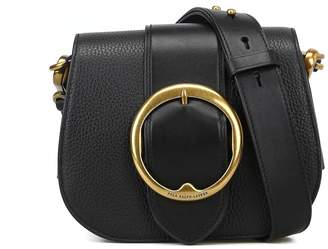 db042cc16c at Italist · Polo Ralph Lauren Black Hammered Leather Saddle Bag