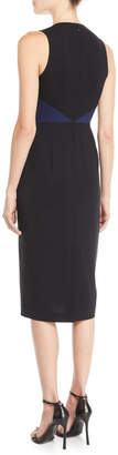 Diane von Furstenberg Sleeveless Tailored Colorblock Midi Dress