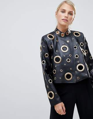 Forever Unique Oversized Leather-Effect Jacket