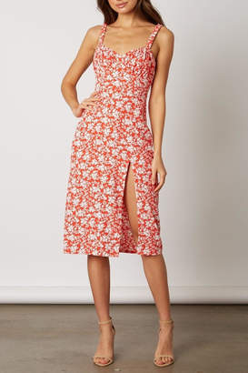 Lush Clothing Red Floral Midi-Dress