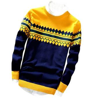 Gocgt Men Pullover Slim Long Sleeve Crewneck Sweater Assorted Color Knitwear M