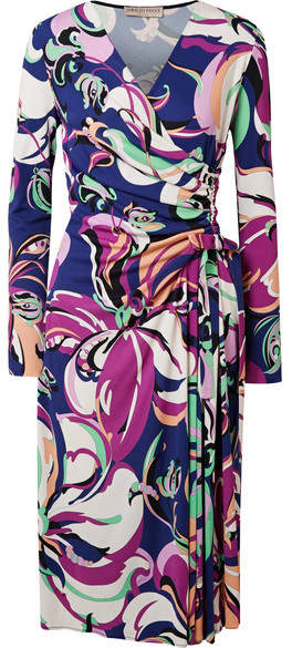 Emilio Pucci - Aruba Wrap-effect Printed Stretch-jersey Midi Dress - Midnight blue