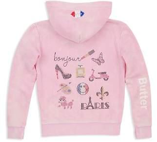 Butter Shoes Girls' Mineral Wash Embellished Paris Hoodie - Little Kid