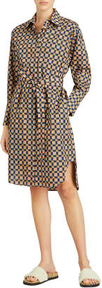 Burberry Isotto Check Button-Front Shirt Dress