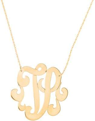 Large initial necklace shopstyle pre owned at therealreal jennifer zeuner jewelry emily large swirly initial v pendant necklace aloadofball Images
