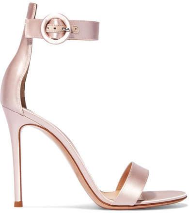 Gianvito Rossi - Portofino 105 Satin Sandals - Baby pink