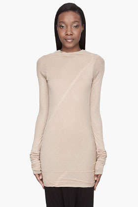 Rick Owens LILIES Tan Long cross-body T-Shirt