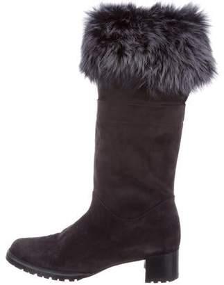 a4d5900e465 Stuart Weitzman Suede Fur-Trimmed Knee-High Boots