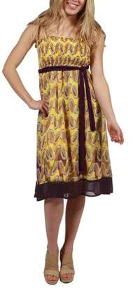 24/7 Comfort Apparel 24Seven Comfort Apparel Gianna Yellow Strapless Dress