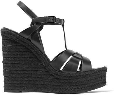 Saint Laurent - Tribute Leather Espadrille Wedge Sandals - Black