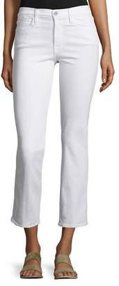 Frame Le High Straight-Leg Cropped Jeans, Blanc