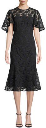 Shoshanna Harmonia Lace Midi Dress w/ Flounce Hem