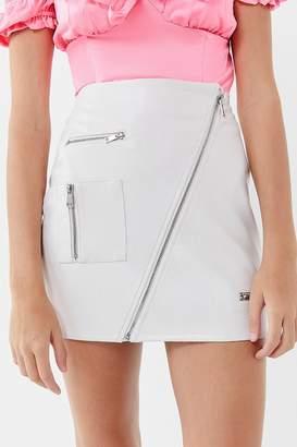 I.AM.GIA Courtney Diagonal Zip-Front Mini Skirt