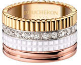 Boucheron Quatre Large 18K Gold & White Ceramic Ring with Diamonds, Size 55