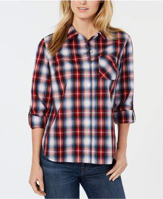 Tommy Hilfiger Plaid Roll-Tab Lurex Shirt
