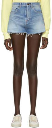 Saint Laurent Blue Denim Shorts