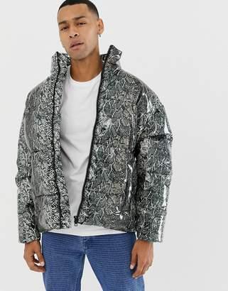 Asos DESIGN snake print puffer jacket in gray