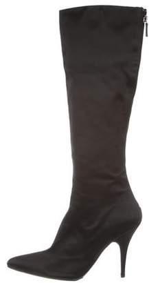 Oscar de la Renta Satin Pointed-Toe Boots
