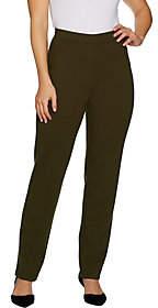 Susan Graver Petite Ponte Straight Leg Pull-OnPants