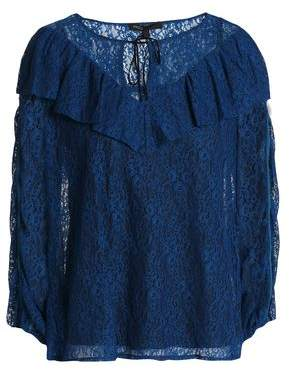 Maje Velvet-Trimmed Ruffled Lace Blouse