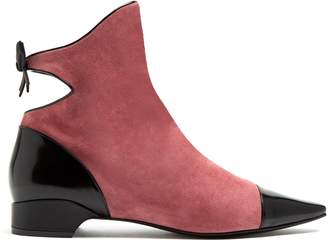 FABRIZIO VITI Take A Bow cut-out suede ankle boots