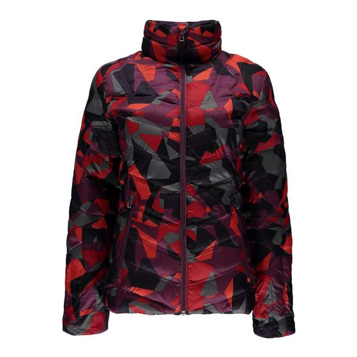 Women's Red Camo Print Geared Synthetic Down Jacket